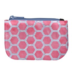 HEXAGON2 WHITE MARBLE & PINK WATERCOLOR Large Coin Purse