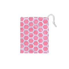 HEXAGON2 WHITE MARBLE & PINK WATERCOLOR Drawstring Pouches (XS)