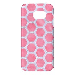 HEXAGON2 WHITE MARBLE & PINK WATERCOLOR Samsung Galaxy S7 Edge Hardshell Case