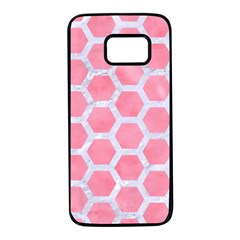 HEXAGON2 WHITE MARBLE & PINK WATERCOLOR Samsung Galaxy S7 Black Seamless Case