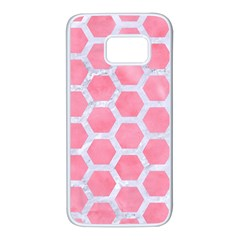 HEXAGON2 WHITE MARBLE & PINK WATERCOLOR Samsung Galaxy S7 White Seamless Case
