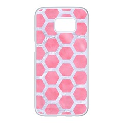 HEXAGON2 WHITE MARBLE & PINK WATERCOLOR Samsung Galaxy S7 edge White Seamless Case