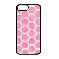 HEXAGON2 WHITE MARBLE & PINK WATERCOLOR Apple iPhone 7 Plus Seamless Case (Black)