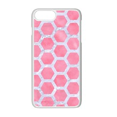 HEXAGON2 WHITE MARBLE & PINK WATERCOLOR Apple iPhone 7 Plus Seamless Case (White)