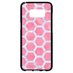 HEXAGON2 WHITE MARBLE & PINK WATERCOLOR Samsung Galaxy S8 Black Seamless Case