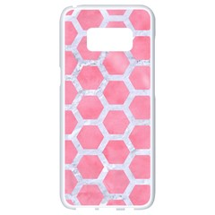 HEXAGON2 WHITE MARBLE & PINK WATERCOLOR Samsung Galaxy S8 White Seamless Case