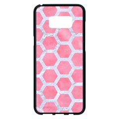 HEXAGON2 WHITE MARBLE & PINK WATERCOLOR Samsung Galaxy S8 Plus Black Seamless Case