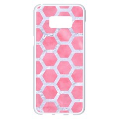 HEXAGON2 WHITE MARBLE & PINK WATERCOLOR Samsung Galaxy S8 Plus White Seamless Case