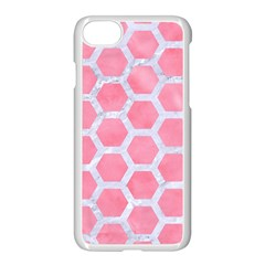 HEXAGON2 WHITE MARBLE & PINK WATERCOLOR Apple iPhone 8 Seamless Case (White)