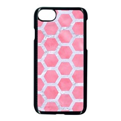 HEXAGON2 WHITE MARBLE & PINK WATERCOLOR Apple iPhone 8 Seamless Case (Black)