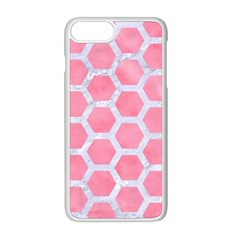 HEXAGON2 WHITE MARBLE & PINK WATERCOLOR Apple iPhone 8 Plus Seamless Case (White)