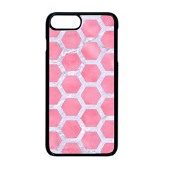 HEXAGON2 WHITE MARBLE & PINK WATERCOLOR Apple iPhone 8 Plus Seamless Case (Black)