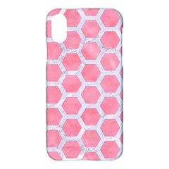 HEXAGON2 WHITE MARBLE & PINK WATERCOLOR Apple iPhone X Hardshell Case
