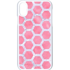 HEXAGON2 WHITE MARBLE & PINK WATERCOLOR Apple iPhone X Seamless Case (White)