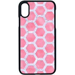 HEXAGON2 WHITE MARBLE & PINK WATERCOLOR Apple iPhone X Seamless Case (Black)