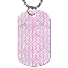 Hexagon1 White Marble & Pink Watercolor (r) Dog Tag (one Side) by trendistuff