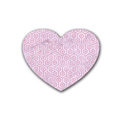 Hexagon1 White Marble & Pink Watercolor (r) Rubber Coaster (heart)  by trendistuff