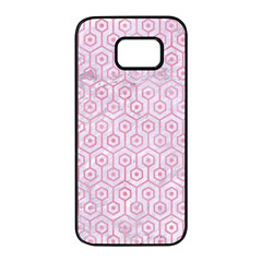 Hexagon1 White Marble & Pink Watercolor (r) Samsung Galaxy S7 Edge Black Seamless Case by trendistuff