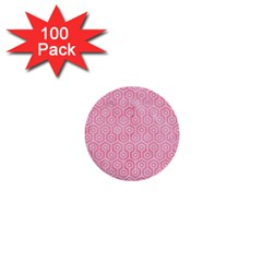 Hexagon1 White Marble & Pink Watercolor 1  Mini Buttons (100 Pack)  by trendistuff