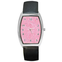 Hexagon1 White Marble & Pink Watercolor Barrel Style Metal Watch by trendistuff