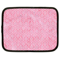 Hexagon1 White Marble & Pink Watercolor Netbook Case (xxl)  by trendistuff