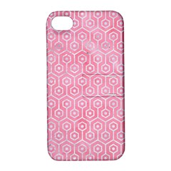 Hexagon1 White Marble & Pink Watercolor Apple Iphone 4/4s Hardshell Case With Stand by trendistuff