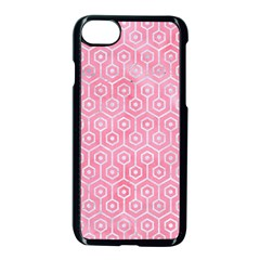 Hexagon1 White Marble & Pink Watercolor Apple Iphone 8 Seamless Case (black) by trendistuff