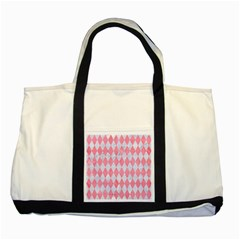 Diamond1 White Marble & Pink Watercolor Two Tone Tote Bag by trendistuff