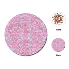 Damask2 White Marble & Pink Watercolor (r) Playing Cards (round)  by trendistuff