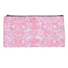 Damask2 White Marble & Pink Watercolor (r) Pencil Cases by trendistuff