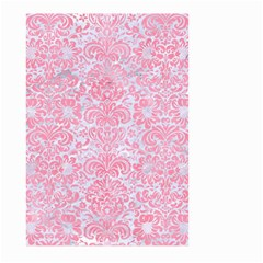 Damask2 White Marble & Pink Watercolor (r) Large Garden Flag (two Sides) by trendistuff