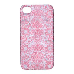 Damask2 White Marble & Pink Watercolor (r) Apple Iphone 4/4s Hardshell Case With Stand by trendistuff