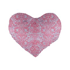Damask2 White Marble & Pink Watercolor (r) Standard 16  Premium Flano Heart Shape Cushions by trendistuff