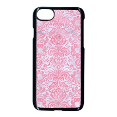 Damask2 White Marble & Pink Watercolor (r) Apple Iphone 8 Seamless Case (black) by trendistuff