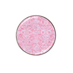 Damask2 White Marble & Pink Watercolor Hat Clip Ball Marker (4 Pack) by trendistuff