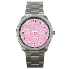 Damask2 White Marble & Pink Watercolor Sport Metal Watch by trendistuff