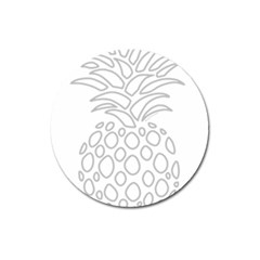 Pinapplesilvergray Magnet 3  (round) by BohoRainbow