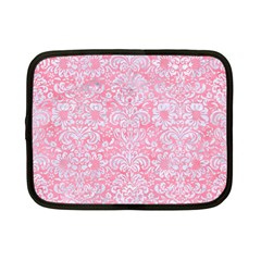 Damask2 White Marble & Pink Watercolor Netbook Case (small)  by trendistuff