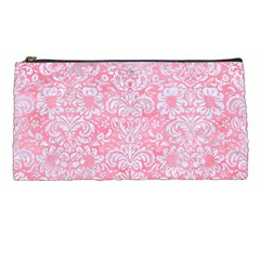 Damask2 White Marble & Pink Watercolor Pencil Cases by trendistuff