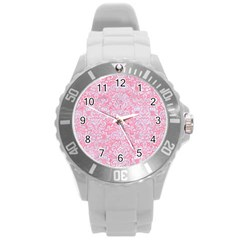 Damask2 White Marble & Pink Watercolor Round Plastic Sport Watch (l) by trendistuff