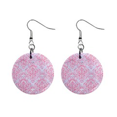 Damask1 White Marble & Pink Watercolor (r) Mini Button Earrings by trendistuff