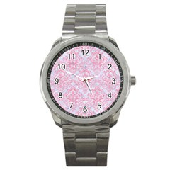 Damask1 White Marble & Pink Watercolor (r) Sport Metal Watch by trendistuff