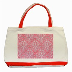Damask1 White Marble & Pink Watercolor Classic Tote Bag (red) by trendistuff