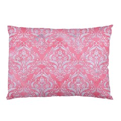 Damask1 White Marble & Pink Watercolor Pillow Case by trendistuff