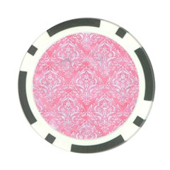 Damask1 White Marble & Pink Watercolor Poker Chip Card Guard (10 Pack) by trendistuff