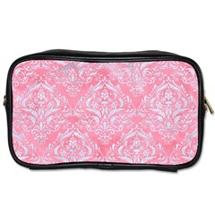 Damask1 White Marble & Pink Watercolor Toiletries Bags 2 Side by trendistuff