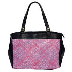 Damask1 White Marble & Pink Watercolor Office Handbags by trendistuff