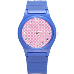 Circles3 White Marble & Pink Watercolor (r) Round Plastic Sport Watch (s) by trendistuff