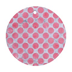 Circles2 White Marble & Pink Watercolor (r) Ornament (round)