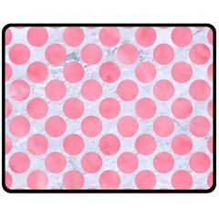 Circles2 White Marble & Pink Watercolor (r) Double Sided Fleece Blanket (medium)  by trendistuff